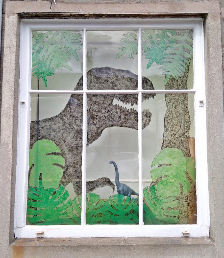 Prehistoric dinosaur window display model shop dundee broughty ferry scotland scale kits
